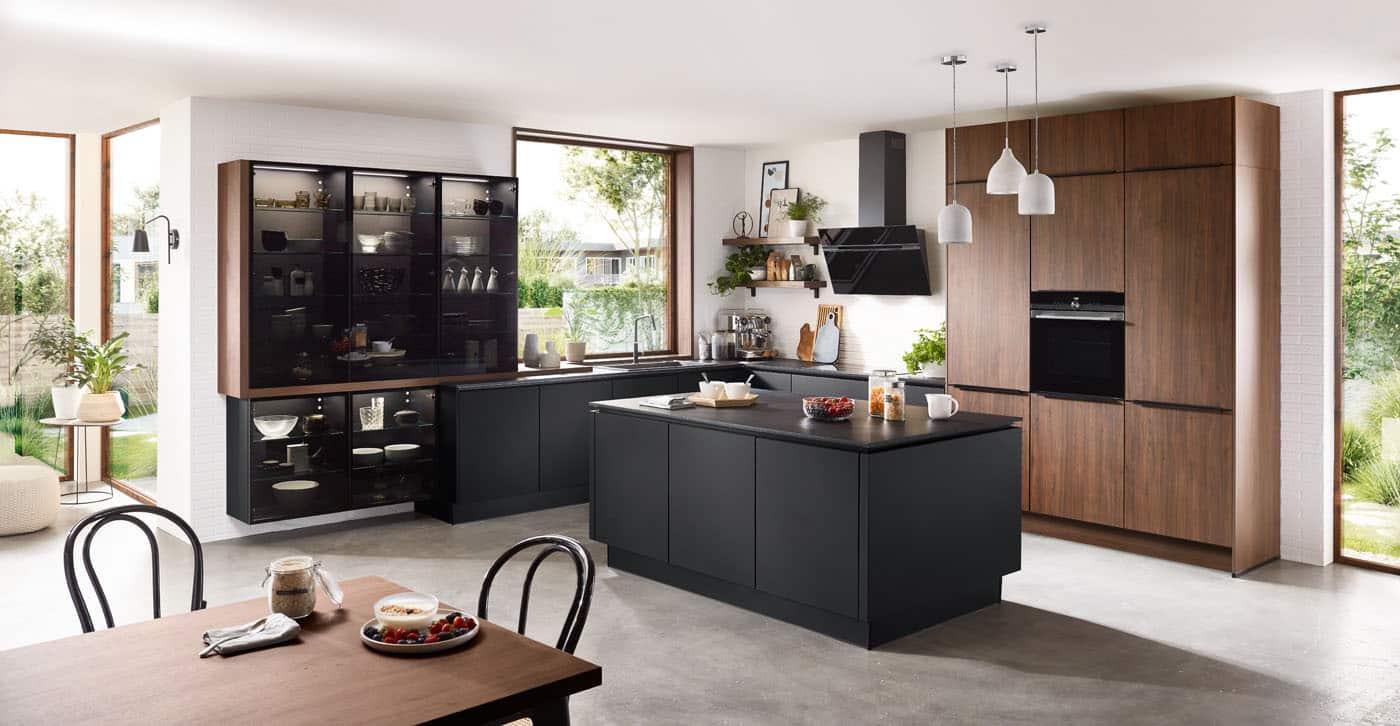 Kücheninsel Riva Nussbaum-schwarz, nobilia