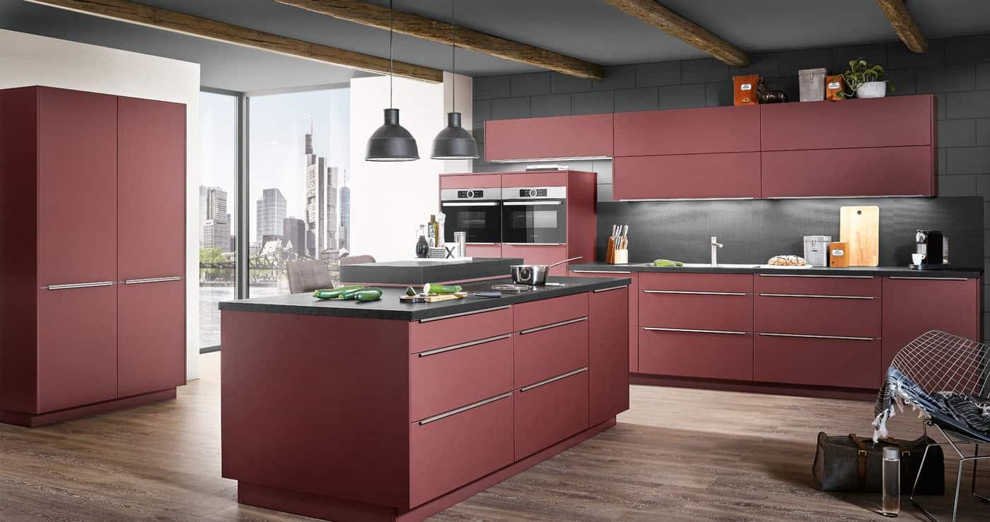 Rote Küchen mit Insel nobilia Easytouch