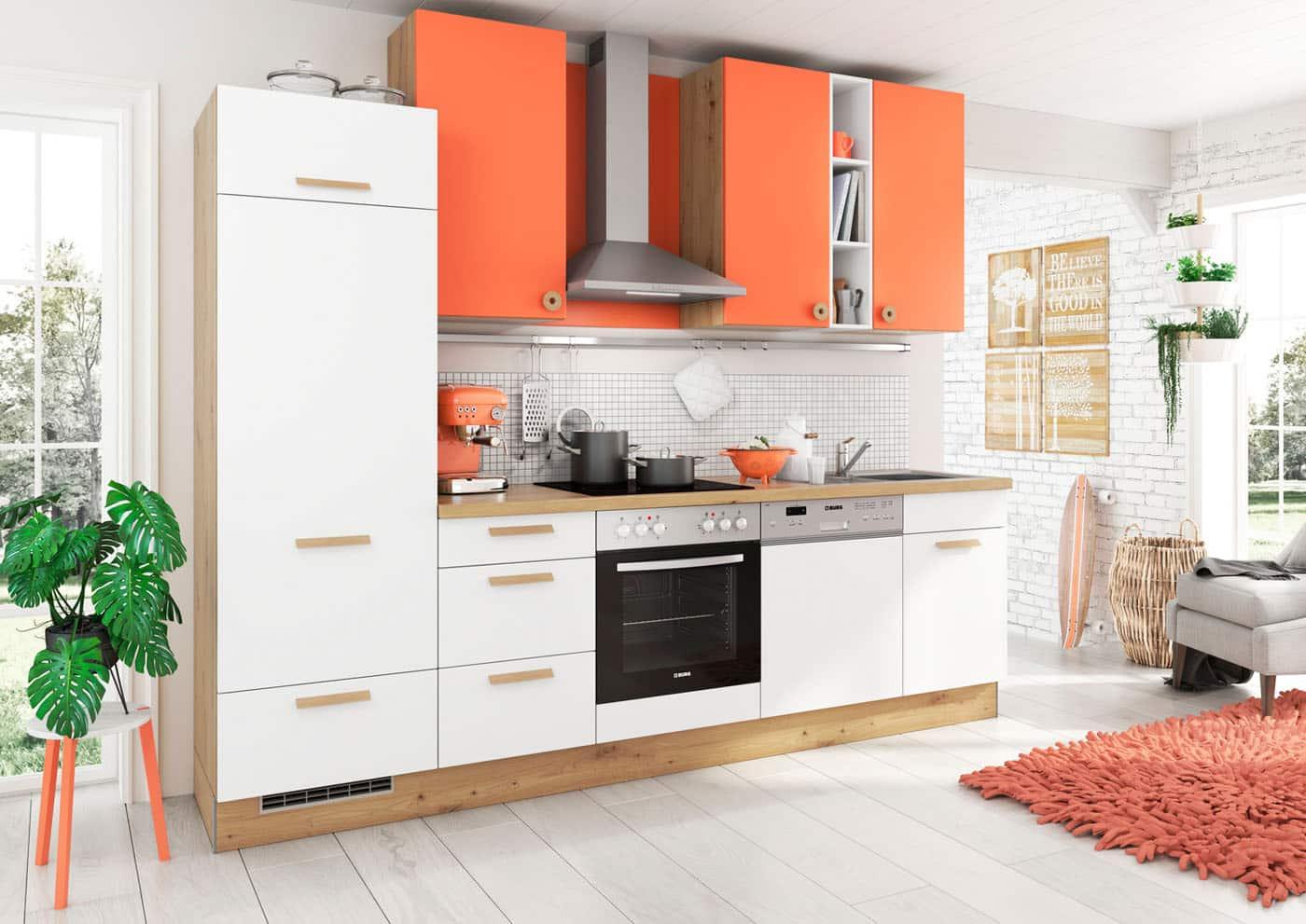Küchenzeile Cindy Burger weiss-coral