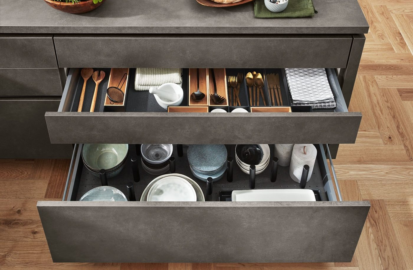 Moderne Küche nobilia Riva Betonoptik Schublade