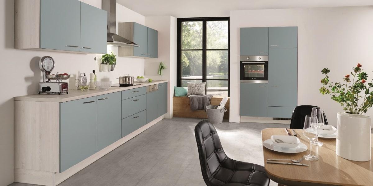Küchenzeile Touch Aqua Supermatt, nobilia