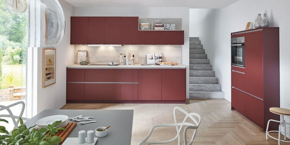 Moderne Einbauküche Easytouch rostrot, nobilia
