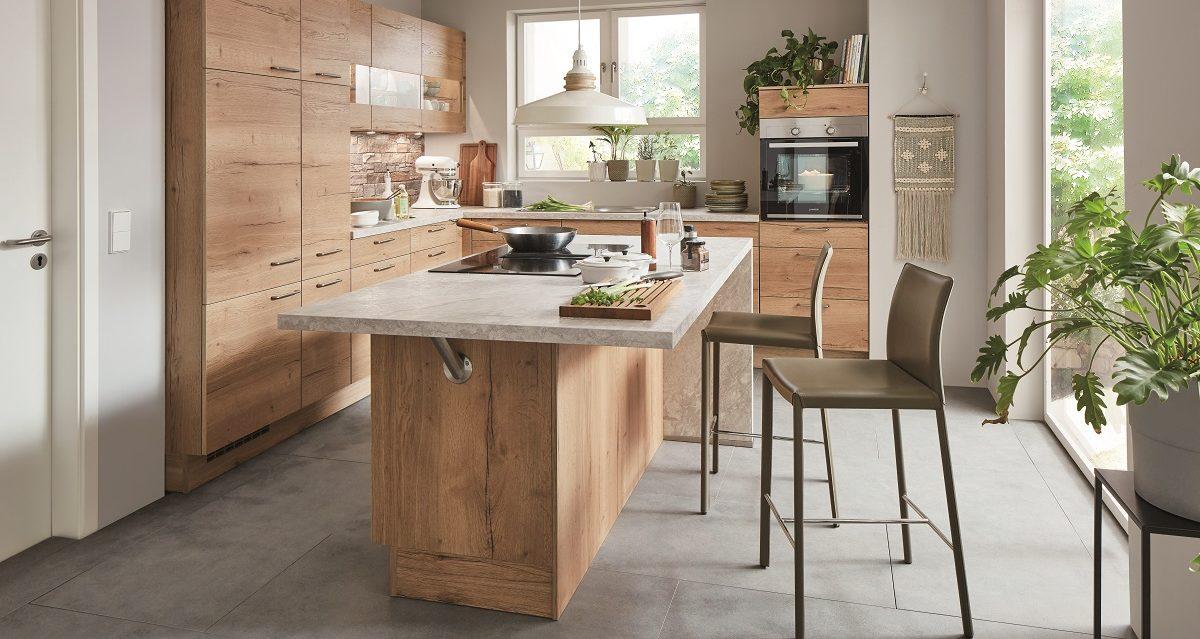 Einbauküche Structura in Eiche-Optik mit Küchentresen, nobilia