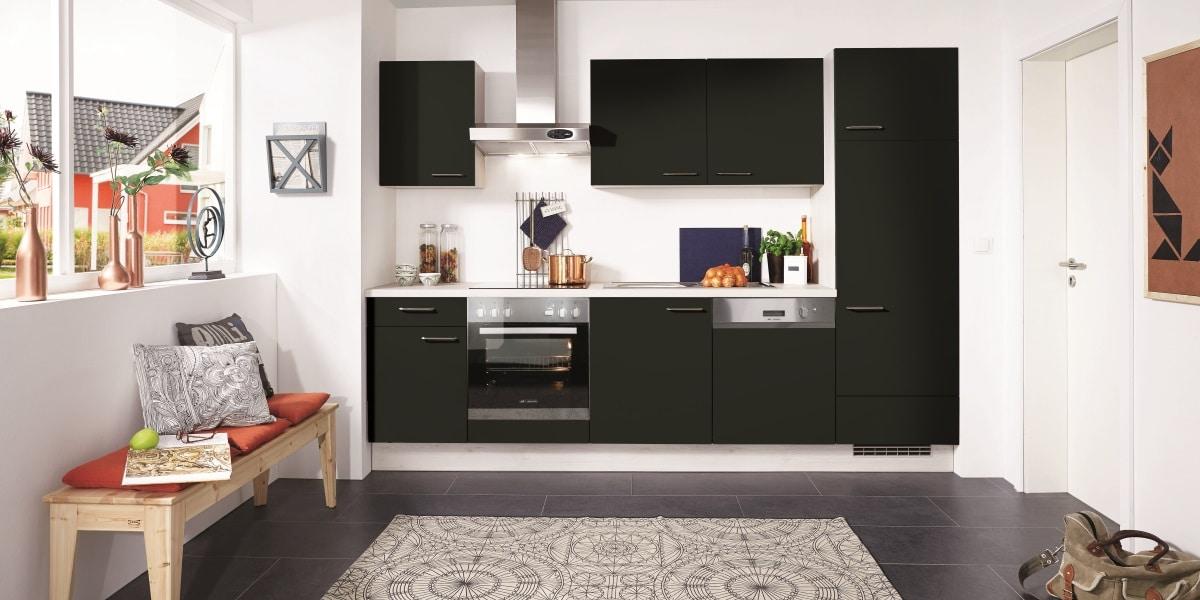 Küchenblock Touch, nobilia, Fassade schwarz Supermatt