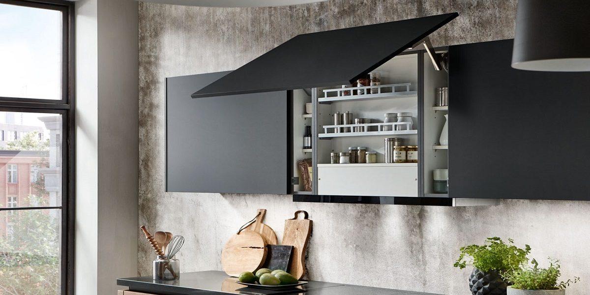 Wandschrank Touch schwarz mit Lifttur, nobilia