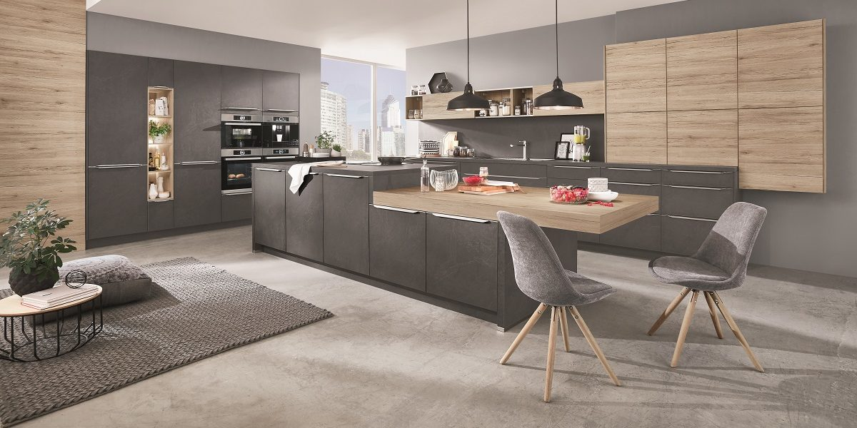 Design-Küche StoneArt-Riva in Stein-Optik, nobilia