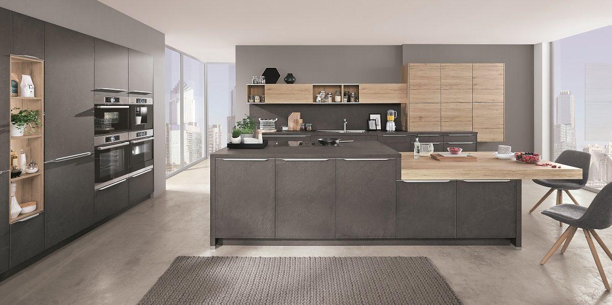 Design-Küche in Steinoptik StoneArt mit Insel, nobilia