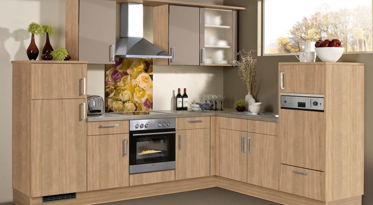 Moderne L-Küche in Holz-Optik Cora Eiche Sonoma, Burger