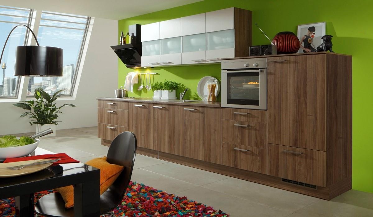 Moderne Küchenzeile Cora in Holz-Optik, Burger