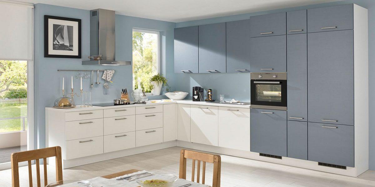 L-Küche weiß-grau Burger