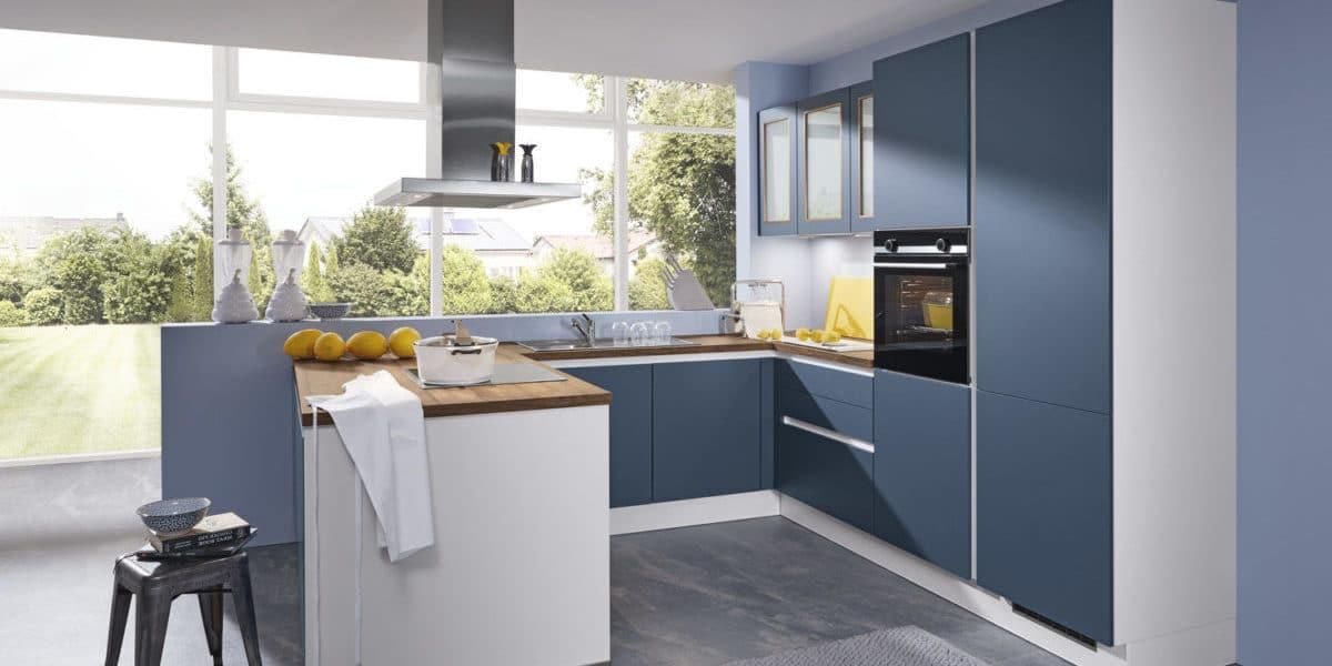 Blaue Küche U-Form Burger