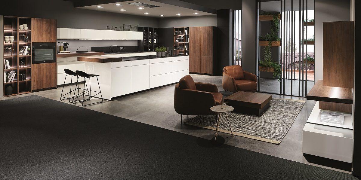 Designküche und Wohnraum Pura, nobilia