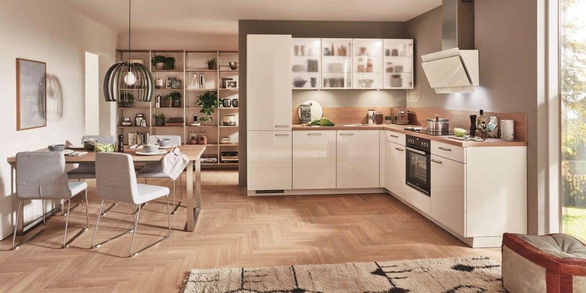 Basic L-Küche mit Glaswandschrank, nobilia