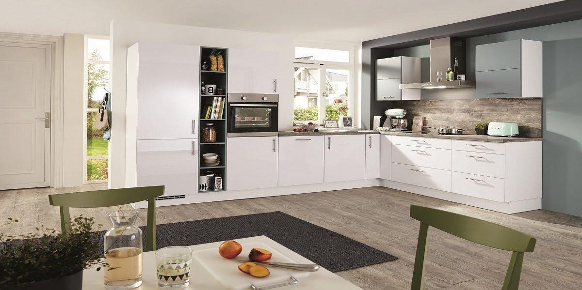 L-Küche Focus mit Aqua-Farbakzent, nobilia