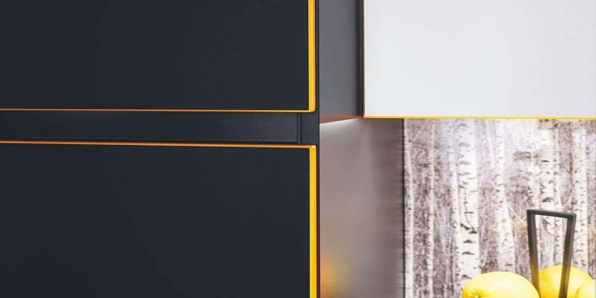 Küchenschrank Lisa mit Neon-Orange-Kante, Burger