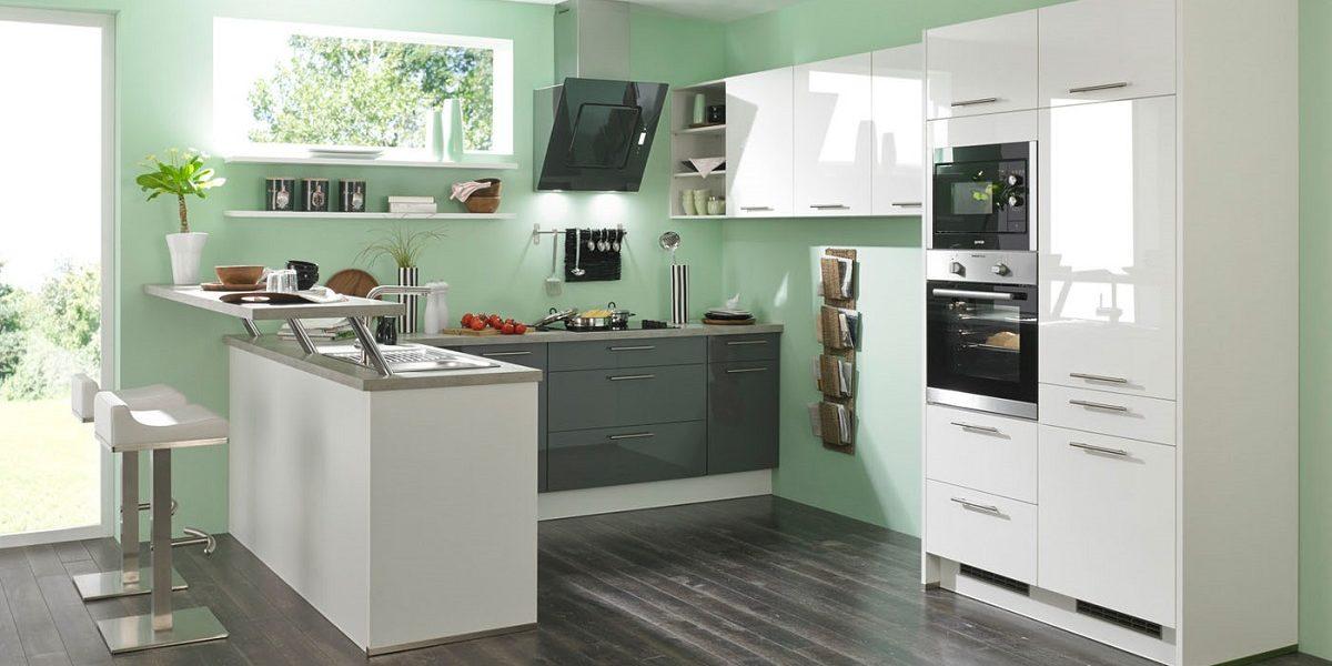 G-Küche mit Küchentresen, Burger