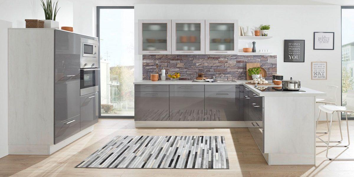 Moderne Küche Susann, Grau Hochglanz, Burger