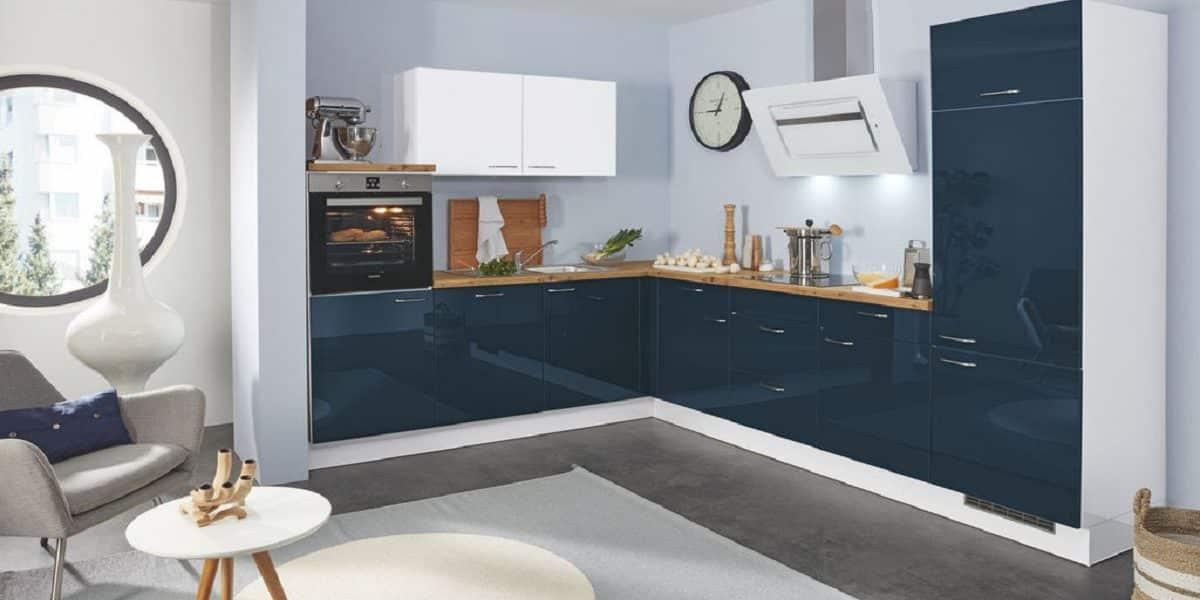 Glänzende Küche L-Form Gloriette, dunkel blau, Burger