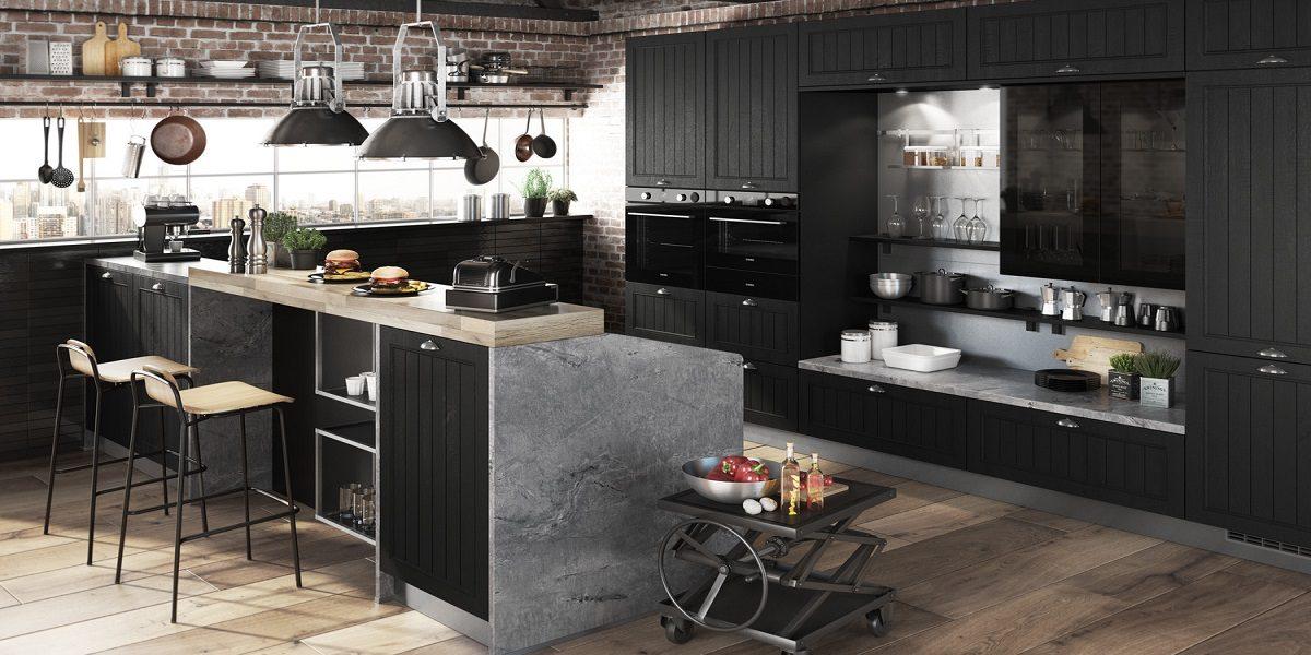 Schwarze Küche mit Insel, Burger