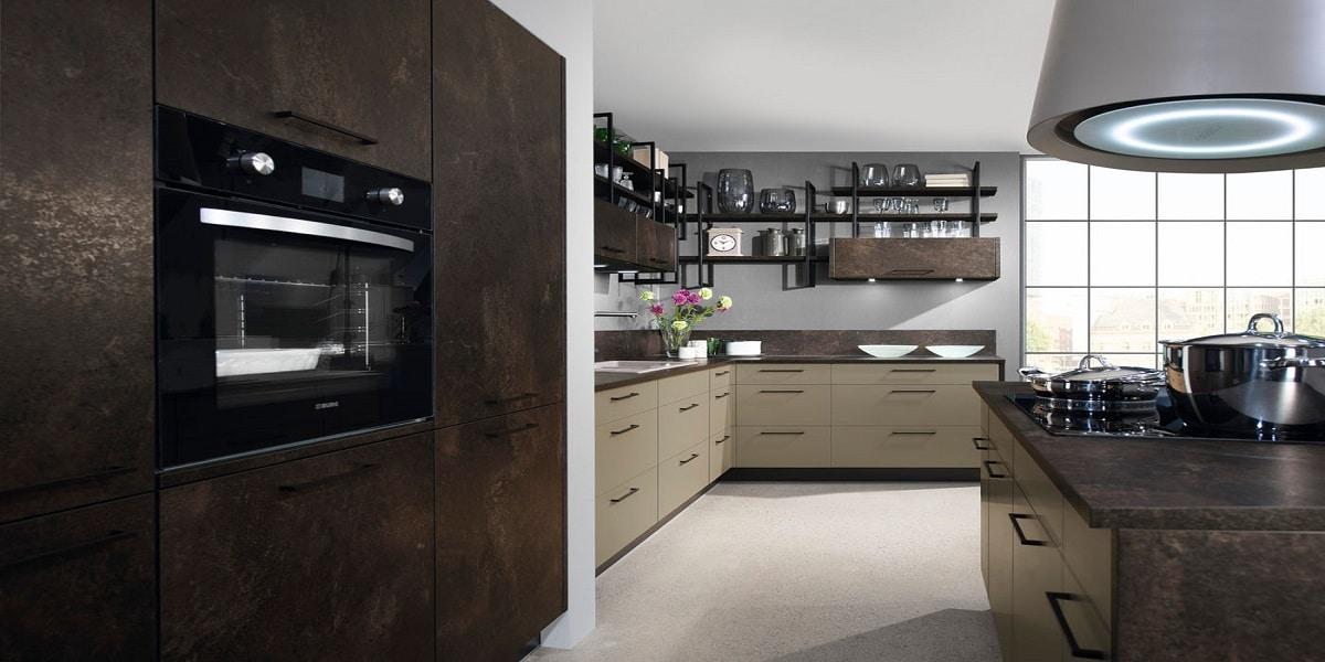 Trend-Küche in Keramik und Metallikoptik Greta, Burger